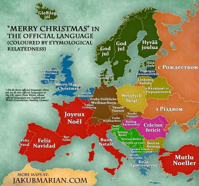 Joyeux Noël à tous dans les principales langues Européennes  /  Merry Christmas everyone in main European languages